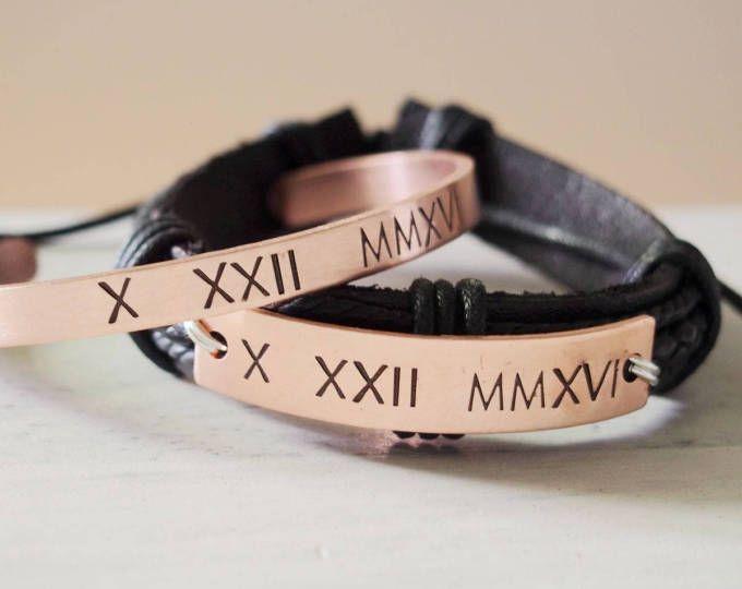 Personalized Couples bracelets set couples gift sets roman | Etsy & Personalized Couple bracelets set couples gift sets roman numeral ...