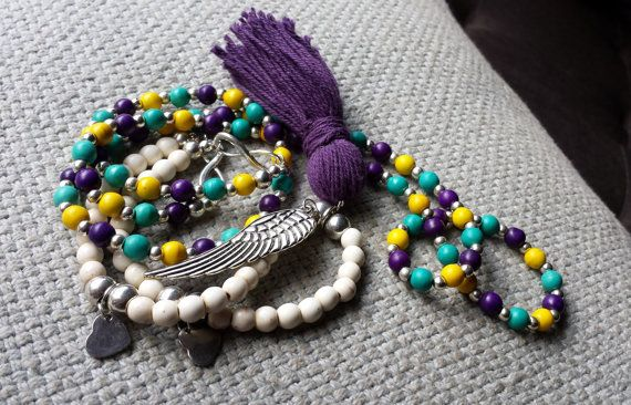 Magnesite necklace in purple teal & yellow by BeanCreationsbyGill, $30.00