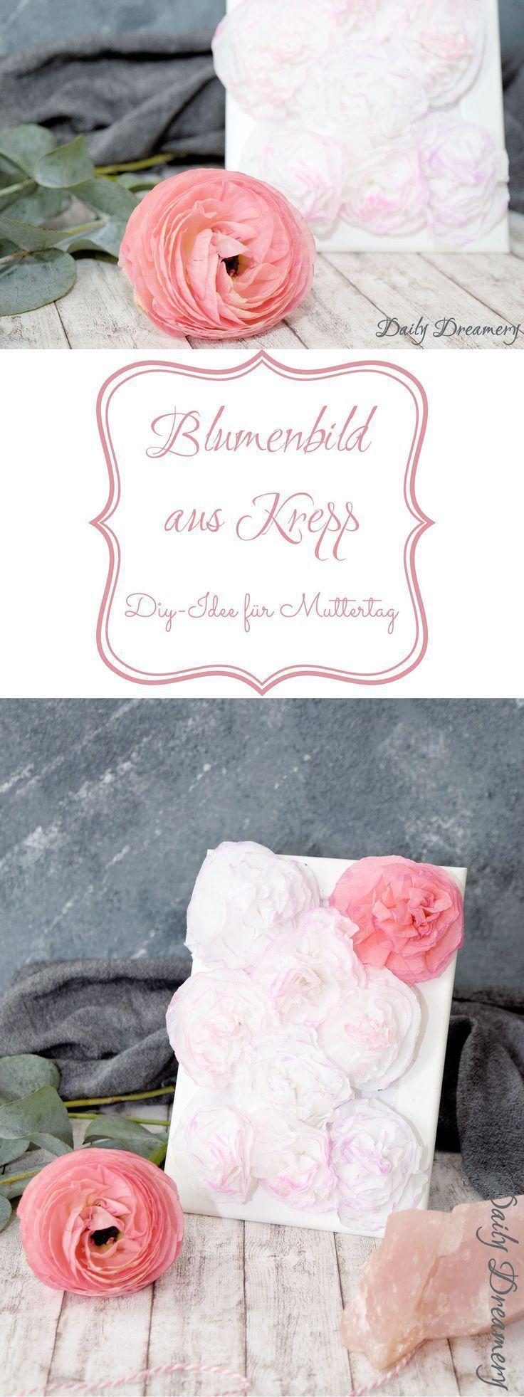 DIY-Blumenbild mit Blüten aus Krepp-Papier tolles Muttertags-Geschenk DIY-Blume… – SELBERMACHEN