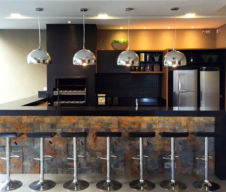 Área de churrasco moderna decorada na cor preta - linda! - Decor Salteado - Blog…