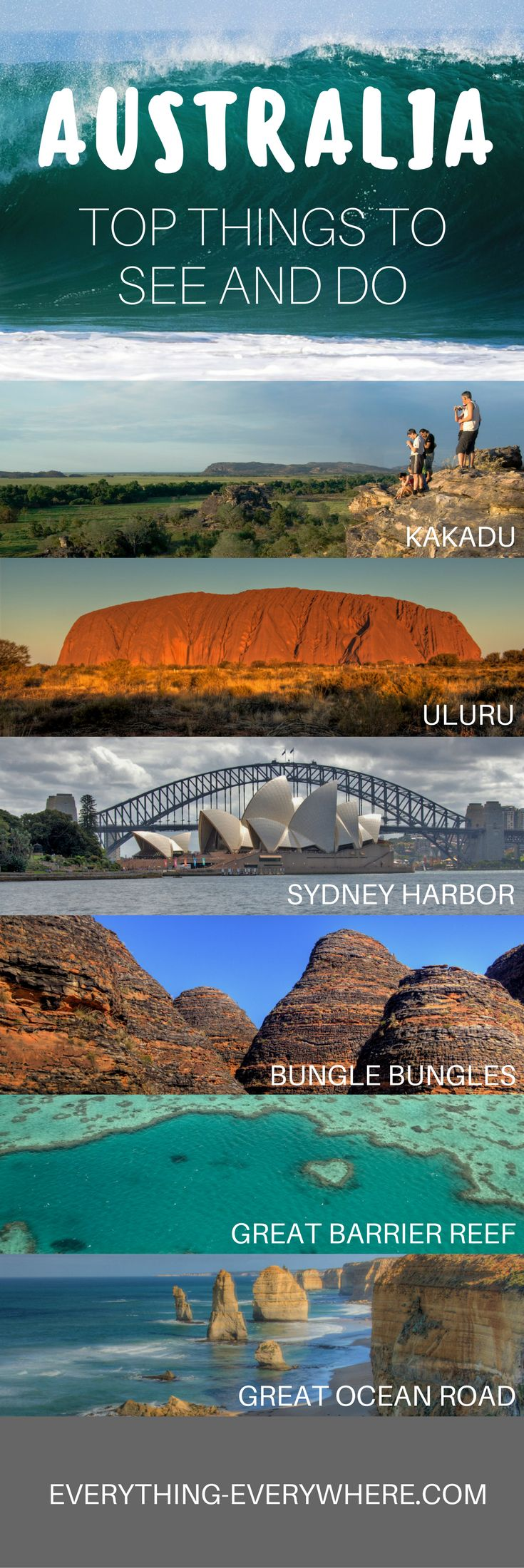 A guide to exploring the top sites and destinations in Australia. From Sydney to Uluru to the Great Barrier Reef, these are the best places to visit on the continent. | Everything Everywhere Destination Guide