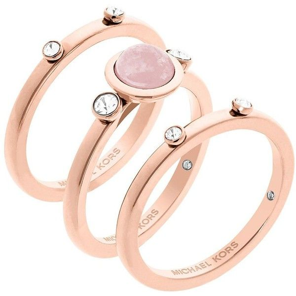 Michael Kors Easy Opulence Rose Quartz Stack Ring Set ($95) ❤ liked on Polyvore featuring jewelry, rings, rose gold, stacking rings jewelry, stackable rings, michael kors ring, rose quartz ring and rose gold tone jewelry