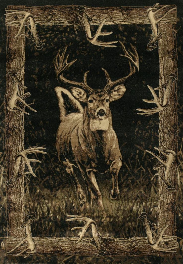 The Whitetail Border Cabin Area Rug Features A Magnificent Deer Running Through Rugged Woods With Toffee Tones Wilderness Feel And Rustic