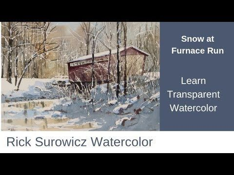 Transparentes, aquarelliertes Tutorial, Snow at Furnace Run – YouTube