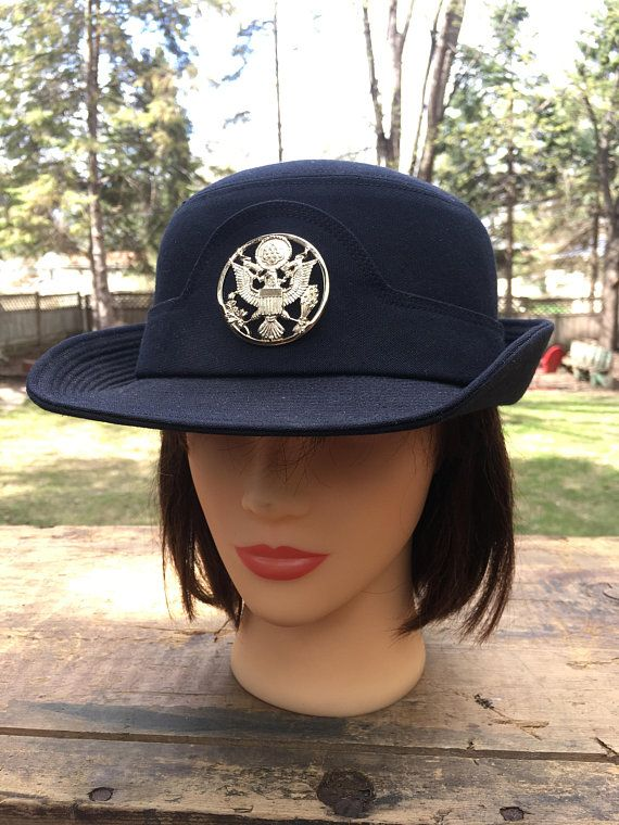 Women s Army Service Cap US Military Dress Blues Hat Genuine Ladies Wool Army  Cap Womens Blue Hat Gold Emblem Uniform Hat 2768062a59