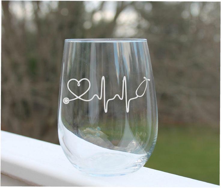 Etched stemless wine glass, nurse wine glass, etched wine glass, wine glasses, wine glass. EKG, nursing