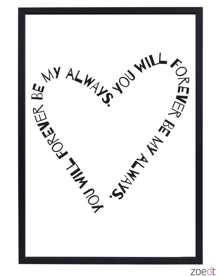 Zoedt Poster met tekst You will forever.. wit zwart