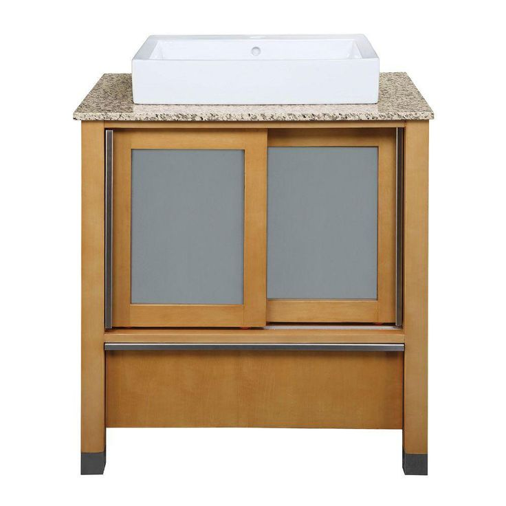 Decolav Tyson 31 inch W x 22 inch D x 32 inch H Vanity in Maple with Granite Vanity Top in Carmelo and Lavatory in White 543116