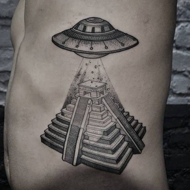 Tattoo Ufo Over Pyramid  - http://tattootodesign.com/tattoo-ufo-over-pyramid/  |  #Tattoo, #Tattooed, #Tattoos
