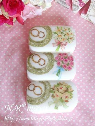 結婚式にも♡リング&ブーケなデコパージュ石鹸|ポーセラーツ&デコパージュ♡ N.R*mayu ♡