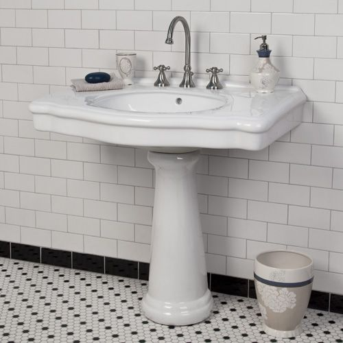 """Carden Pedestal Sink with 8"""" Centers - Traditional Pedestal Sink with enough room  for a few things."""