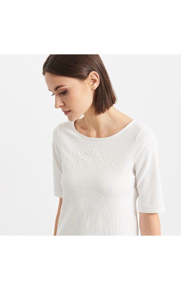 Koszulka z wytłaczanym wzorem, T-SHIRTY, TOPY, kremowy, RESERVED