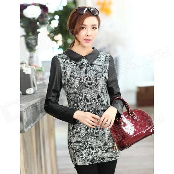 Woman's Fashionable Retro Pattern Cotton Blending + PU Skinny Dress - Black + White (XL)