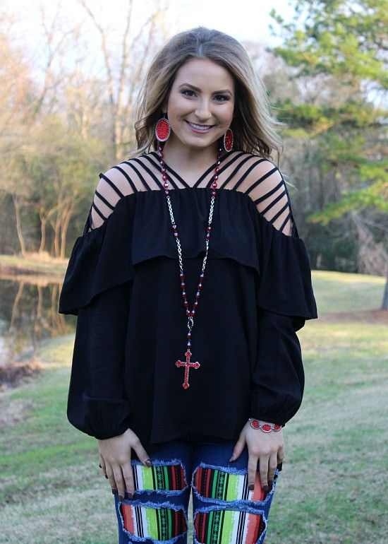More Than A Glimmer Strappy Blouse in Black – Giddy Up Glamour Boutique