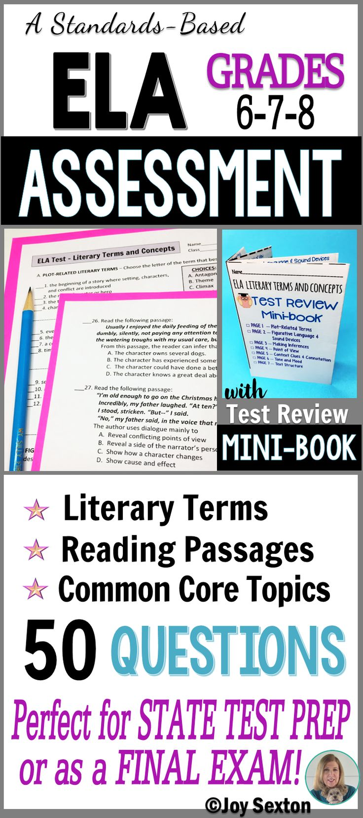 This 50-question Multiple Choice ELA Test comes with a 7-page MINI-BOOK so that students can review and practice Literary Terms and Common Core reading skills. Perfect for your final exam or use as practice before state testing!