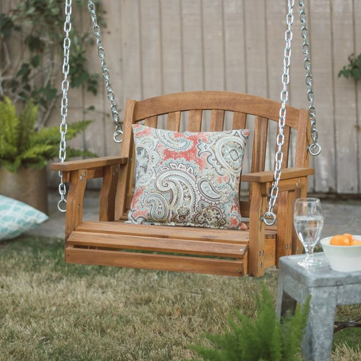 Coral Coast Amherst Single Seat Wood Porch Swing Natural