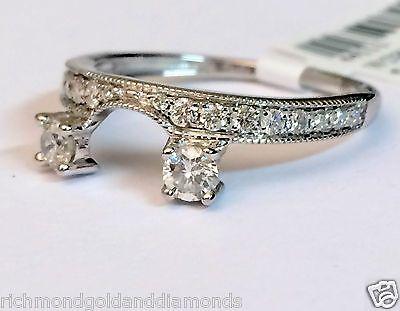 Price drop! 14k White Gold Diamond Milgain 0.50c Vintage Solitaire Wrap Ring Guard Enhancer