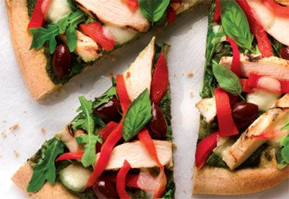 pizza poulet mediterraneenne