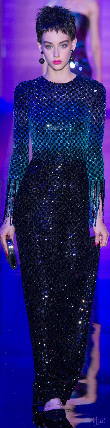 Armani Privé ~ Couture Shades of Blue + Black Sequinned Gown, Fall 2015