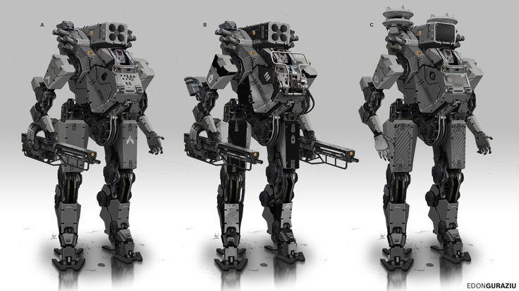 Battle Robot Variations, Edon Guraziu on ArtStation at https://www.artstation.com/artwork/battle-robot-variations