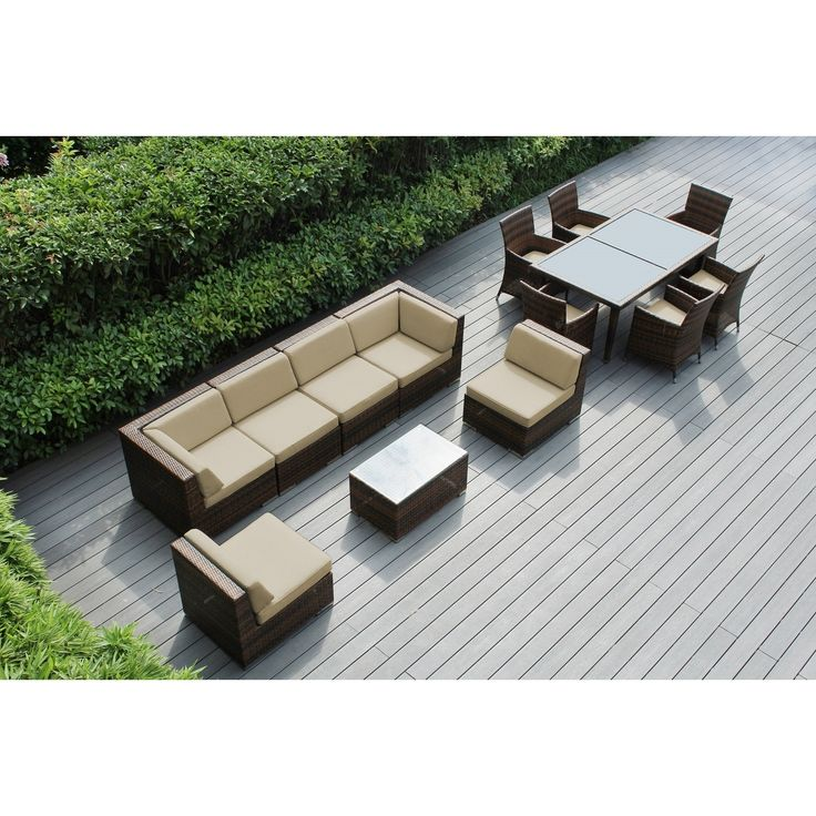 Ohana Outdoor Patio 14 Piece Mixed Brown Wicker Sofa and Dining Set with Cushions , Patio Furniture