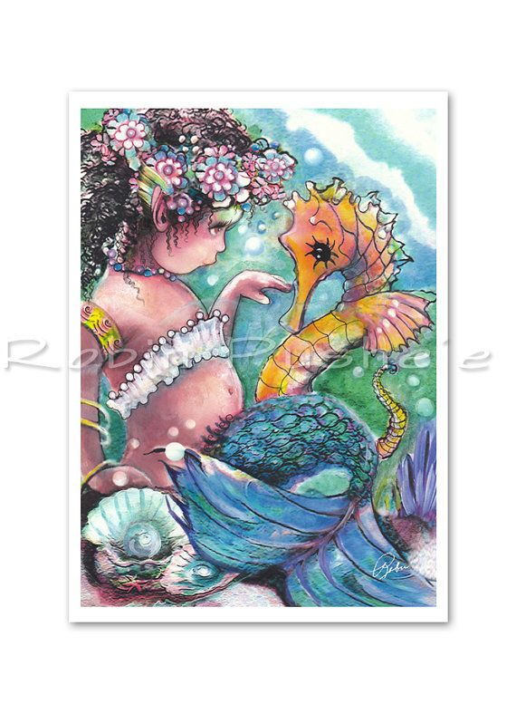Toddler Mermaid,and Sea horse, Colorful  aceo art print