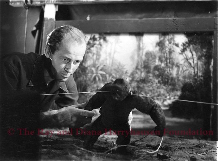 Ray Harryhausen on the set of 'Mighty Joe Young' (1949); his first movie project, working as an assistant to mentor and lifelong inspiration Willis O'Brien. Most of the actual animation in the film was delegated to Ray, and the picture went on to win an Academy Award for best special effects