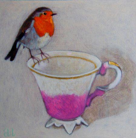 Andrea Letterie, Roodborstje op roze kopje, 18x18 cm, €.250,-