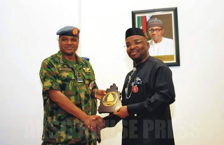 """Ndifreke P. Akpan (Govt House)  The Akwa Ibom State Government has called for the establishment of an Air Force Base in the state.  The State Governor Mr Udom Emmanuel made the call on Tuesday January 9 2018 at a banquet in honour of the Nigerian Chief of the Air Staff Air Marshal S. B. Abubakar in Government House Uyo.  Governor Emmanuel said that the state government had already given enough land for the anticipated Air Force Base in Akwa Ibom.  Mr Emmanuel explained that apart from enhancing the security apparatus of Akwa Ibom with the longest coastline in the country the Air Force Base is expected to complete the value chain arising from the brilliant performance by the students of Air Force Comprehensive Secondary School Uyo.  He assured the visitors that the state will cooperate with the Nigerian Air Force just like it was doing with the Army Navy and others for the achievement of set goals.  The Governor commended authorities in the school and the students for making the school the best of its kind in Nigeria as students scored hundred percent in the last Senior School Certificate Examination.  The Governor who had earlier gone to the school to inaugurate an hostel project built by the Chief of the Air Staff applauded the standard of job done and compared it to standard university hostels of years gone by.  The elated Governor said """"As you can see I am full of smiles because as we were marching in here the Chief of the Air Staff whispered to me something that I already know that this school is the best Air Force school in the country."""" Governor Emmanuel further stated that  Responding the Chief of the Air Staff expressed appreciation to the Governor for the show of love to him and his entourage and assured that the Air Force will immediately begin the process of bringing in the Maintenance Repair and Overhaul MRO which has already indicated interest to come into the state.  """"I thank the teaching and non teaching staff for maintaining the standard in this scho"""