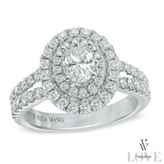 Vera Wang LOVE Collection 1-1/2 CT. T.W. Oval Diamond Frame Engagement Ring in 14K White Gold - View All Jewelry - Gordon's Jewelers