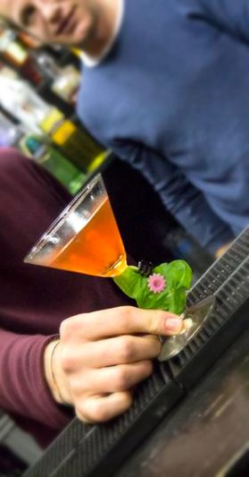 Spring Cocktail - Hendrick's Gin, Basil leaves, Campari, Angostura bitter, Soda water