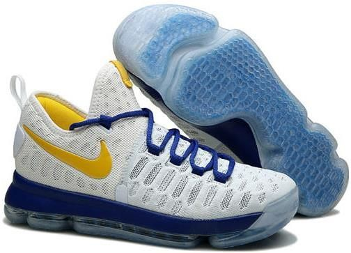 Nike Zoom KD 9 Mens Basketball Shoes White sapphire blue yellow0