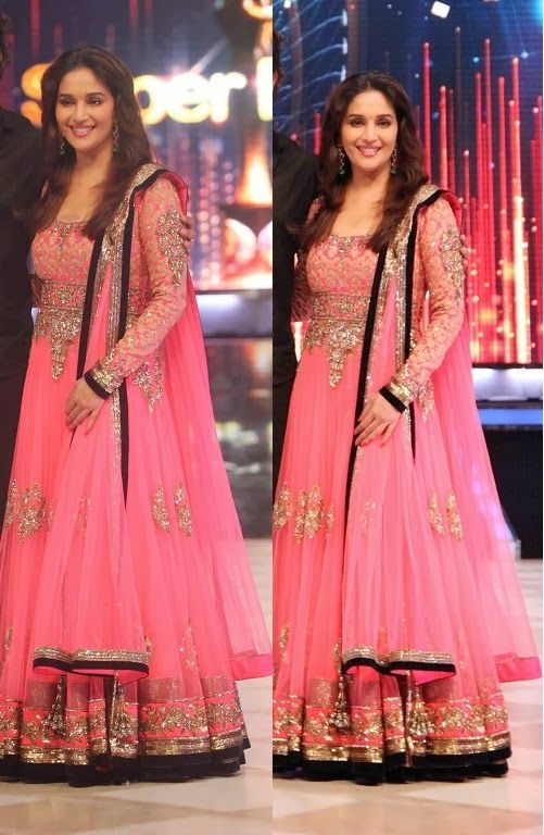 Madhuri Dixit in beautiful pink designer Manish Malohtra embroidery netted long sleeves Anarkali Lahenga on the sets of Jhalak Dhikhlaa.