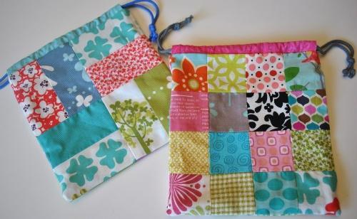 patchwork drawstring bags