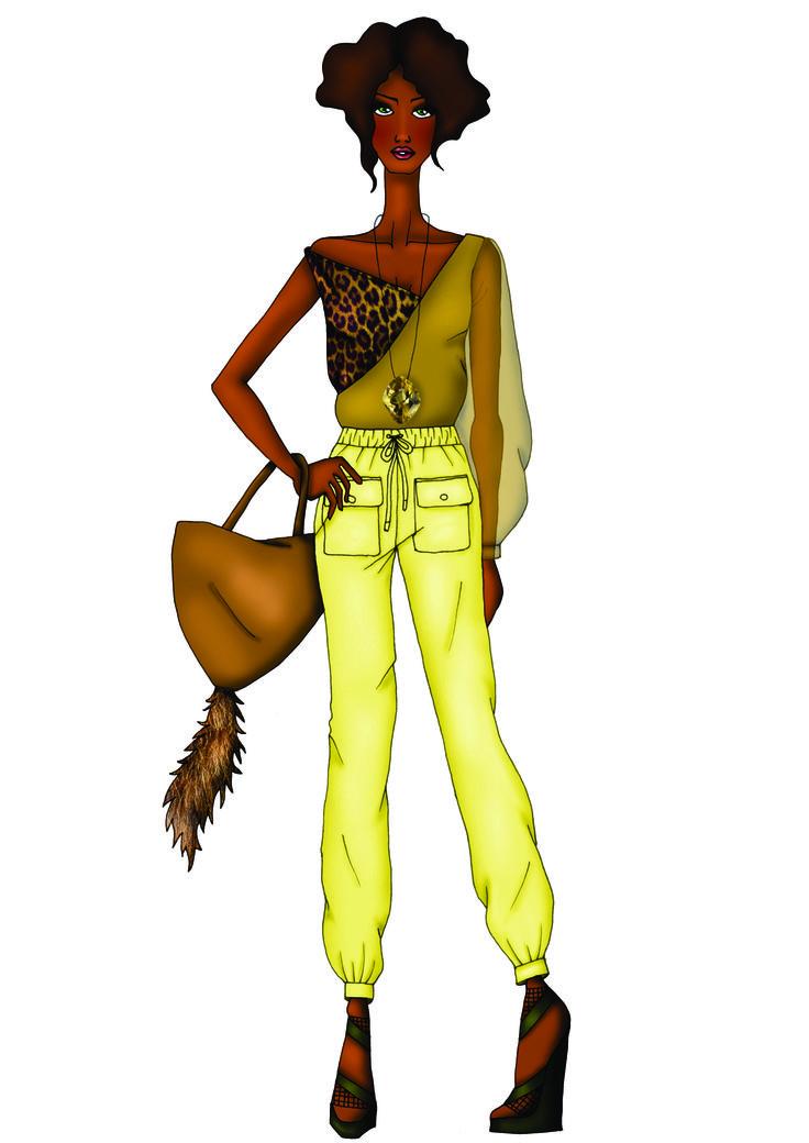 look 2 - O estilo safári continua com bolsos utilitários, calça mais solta e confortável. A sensualidade fica mais velada pela pouca transparência. A pedra gigante do colar lembra as pedras preciosas de algumas regiões da África.