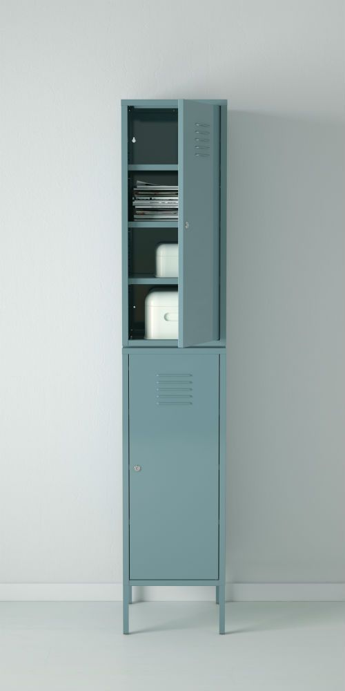 IKEA Fan Favorite: IKEA PS cabinet. Lockable and safe storage for your private things. You can adjust your storage according to your needs, as the shelves are adjustable.