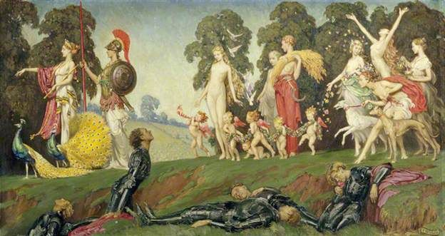 Eleanor Brickdale, Chivalry Dying of Love for the Goddesses, Oil