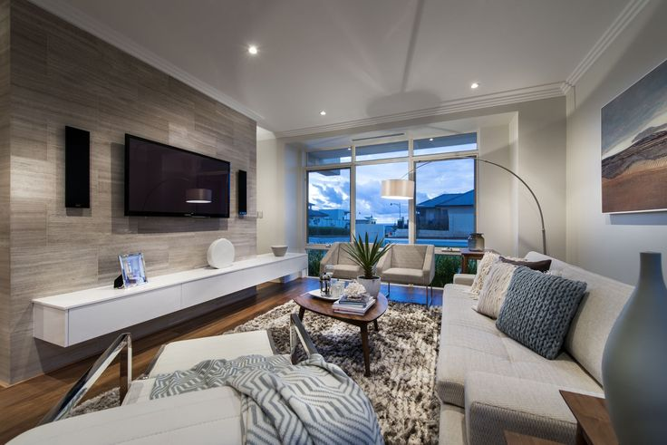 The Etesian | Webb Brown-Neaves - feature media wall, furniture layout, floor lamp & neutral palette