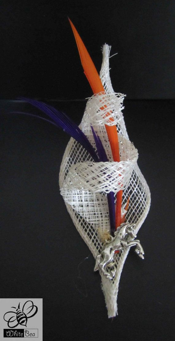 White orange and purple lapel pin with horse medalion by WhiteBea, $12.50