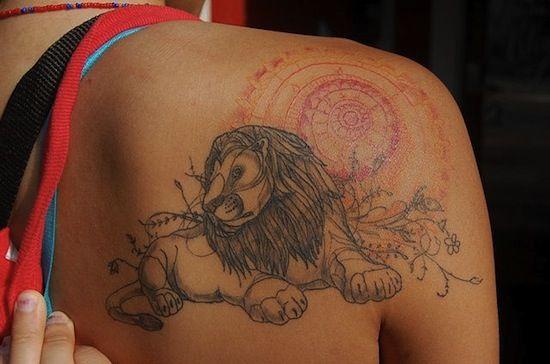 lion on back by David Hale | tattoo artist – Athens GA USA