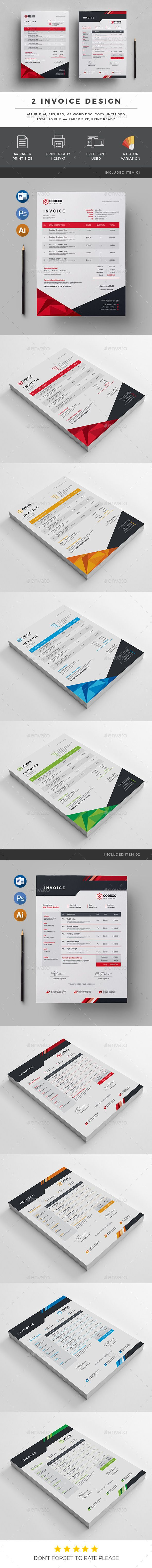 Invoice Template AI, EPS, PSD, DOC, DOCX - A4 and US Letter Size