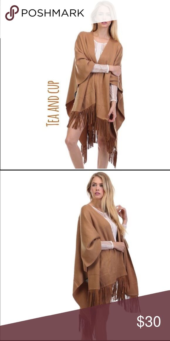 Tea n Cup Boho Chic Poncho Camel Boho Poncho with fringe.  Easy to dress up or down.  60% cotton/40%acrylic. Sweaters Shrugs & Ponchos