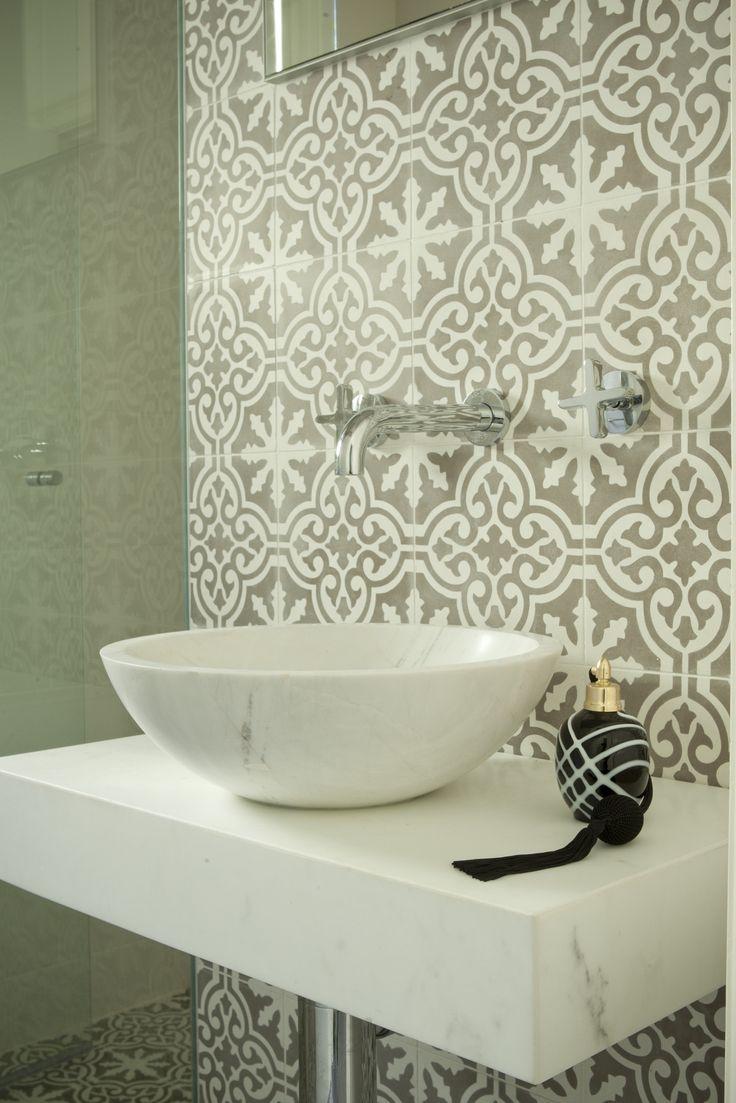Guest Bathroom with Jatana tiles and Marble basin. Brooke Aitken Design