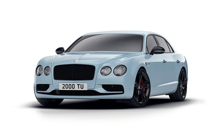 Download wallpapers 4k, Bentley Flying Spur V8 S Black Edition, 2017 cars, tuning, blue Flying Spur, luxury cars, Bentley