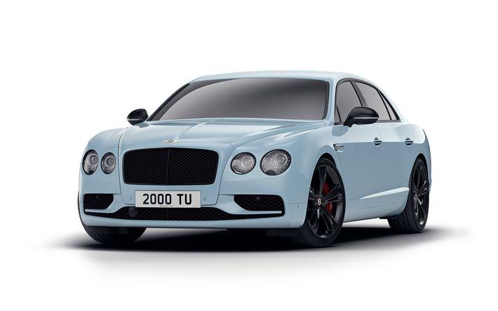 Indir duvar kağıdı 4k, Bentley Uçan V8 S Black Edition, 2017 arabalar, tuning, mavi Flying Spur, lüks arabalar, Bentley Mahmuz