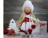 Decor doll handmade white red christmas doll Art doll Home House Gift doll Lady doll Fabric doll unique magic doll by Master Margarita Hilko