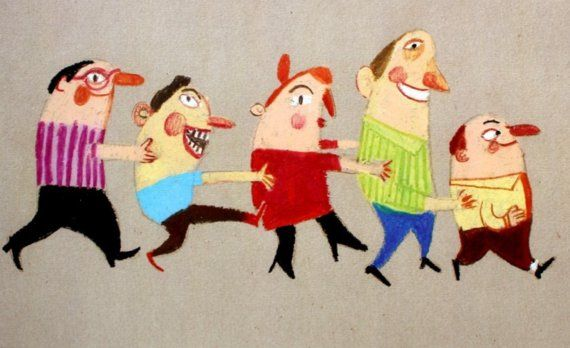 Train / Print of an original drawing / Beige background / Funny people / Joy / Party / Children illustration / Holding each other / Pattern