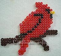 bead+bird | Fuse Beads or Perler Beads Cardinal Bird Pattern