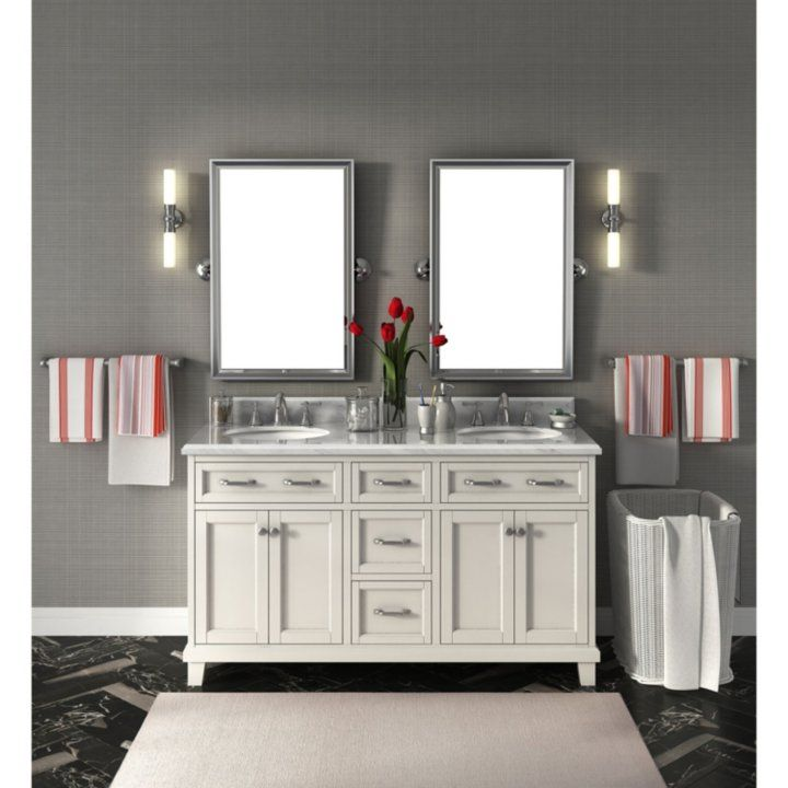 Carolina 60 Double Sink Marble Top Vanity With Backsplash Transitional Home Decor Double Vanity Bathroom Transitional Decor