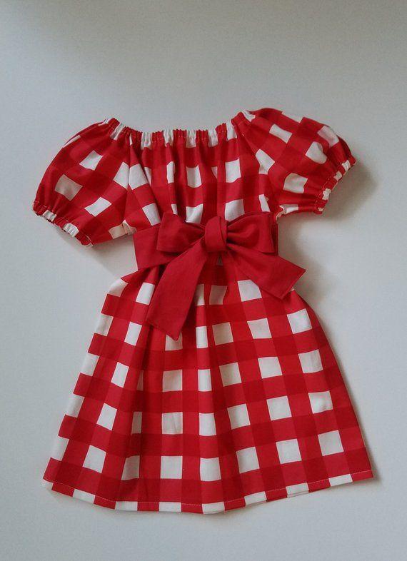 Girl/'s Infants Toddlers Red Quatrefoil Peasant Dress
